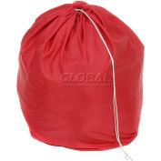 """18"""" Drawcord Laundry Bag, Nylon, Red, Round Bottom - Pkg Qty 12"""