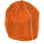 """18"""" Drawcord Laundry Bag, Nylon, Orange, Round Bottom - Pkg Qty 12"""