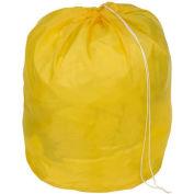 "18"" Drawcord Laundry Bag, Nylon, Yellow, Round Bottom - Pkg Qty 12"
