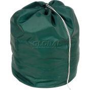 """25"""" Drawcord Laundry Bag, Nylon, Green, Round Bottom - Pkg Qty 12"""