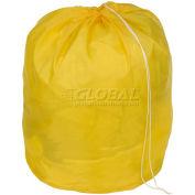 "27"" Drawcord Laundry Bag, Nylon, Yellow, Round Bottom - Pkg Qty 12"