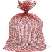 Mesh Bag W/ Dual Grip Rubber Closure, Red, 18x30, Medium Weight - Pkg Qty 12