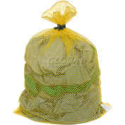 Mesh Bag W/ Dual Grip Rubber Closure, Yellow, 18x30, Medium Weight - Pkg Qty 12