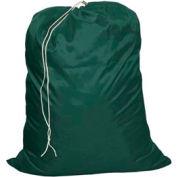 "11"" Drawcord Bag, Nylon, Green, Straight Bottom - Pkg Qty 12"