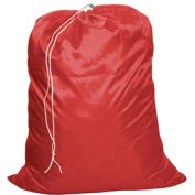 "18"" Drawcord Laundry Bag, Nylon, Red, Straight Bottom - Pkg Qty 12"