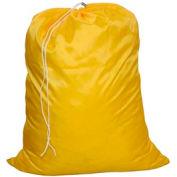 "18"" Drawcord Laundry Bag, Nylon, Yellow, Straight Bottom - Pkg Qty 12"