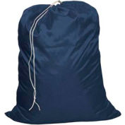"27"" Drawcord Laundry Bag, Nylon, Blue, Straight Bottom - Pkg Qty 12"