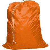 """27"""" Drawcord Laundry Bag, Nylon, Orange, Straight Bottom - Pkg Qty 12"""