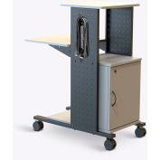 "Luxor Open Shelf Presentation Station with Cabinet & Power Strip, 18""W x 34-1/4""D x 40""H, Gray"