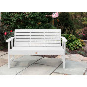 highwood® 4' Weatherly Outdoor Bench, Eco Friendly Synthetic Wood In White