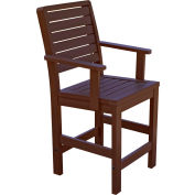 Highwood Synthetic Wood Weatherly Counter Height Dining Chair With Arms, Weathered Acorn