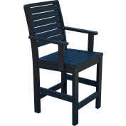 Highwood Synthetic Wood Weatherly Counter Height Dining Chair With Arms, Black