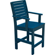 Highwood Synthetic Wood Weatherly Counter Height Dining Chair With Arms, Nantucket Blue by Dining Room Chairs