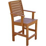 Highwood® Synthetic Wood Weatherly Counter Height Dining Chair With Arms, Toffee