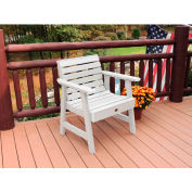 highwood® Weatherly Outdoor Garden Chair, Eco Friendly Synthetic Wood In White
