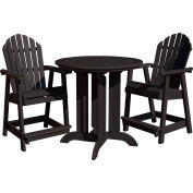 highwood® Hamilton 3pc Round Counter Dining Set, Black