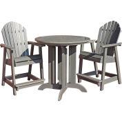 highwood® Hamilton 3pc Round Counter Dining Set, Coastal Teak