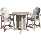 highwood® Hamilton 3pc Round Counter Dining Set, Whitewash