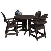 highwood® Hamilton 5pc Round Counter Dining Set, Black
