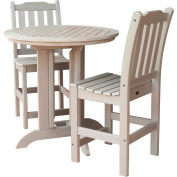 highwood® Lehigh 3pc Round Counter Dining Set, Whitewash