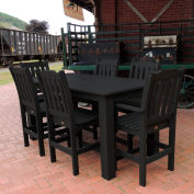 Highwood® Synthetic Wood 7 pc Counter Height Set, 36 X 72, Black