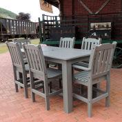 Highwood® Synthetic Wood 7 pc Counter Height Set, 36 X 72, Coastal Teak
