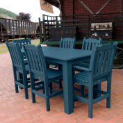 Highwood® Synthetic Wood 7 pc Counter Height Set, 36 X 72, Nantucket Blue