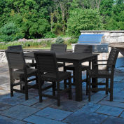 Highwood® Synthetic Wood 7 pc Counter Height Set, 36 X 72, w/ Weatherly Chairs, Black