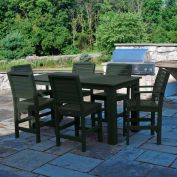 Highwood® Synthetic Wood 7 pc Counter Height Set, 36 X 72, w/ Weatherly Chairs Charleston Green
