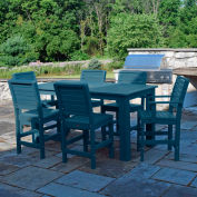 Highwood® Synthetic Wood 7 pc Counter Height Set, 36 X 72, w/ Weatherly Chairs, Nantucket Blue