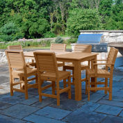 Highwood® Synthetic Wood 7 pc Counter Height Set, 36 X 72, w/ Weatherly Chairs, Toffee