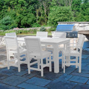 Highwood® Synthetic Wood 7 pc Counter Height Set, 36 X 72, w/ Weatherly Chairs, White