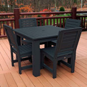 Highwood Synthetic Wood 5 pc Counter Height Set, 42 X 42 w/ Weatherly Chairs, Black