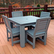 Highwood Synthetic Wood 5 pc Counter Height Set, 42 X 42 w/ Weatherly Chairs, Coastal Teak