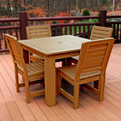 Highwood Synthetic Wood 5 pc Counter Height Set, 42 X 42 w/ Weatherly Chairs, Toffee