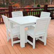 Highwood Synthetic Wood 5 pc Counter Height Set, 42 X 42 w/ Weatherly Chairs, White