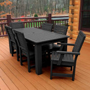 Highwood® Synthetic Wood 7 pc Set, 36 X 72 Table w/ Weatherly Chairs, Black