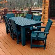 Highwood® Synthetic Wood 7 pc Set, 36 x 72 Table w/ Weatherly Chairs, Nantucket Blue