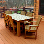 Highwood® Synthetic Wood 7 pc Set, 36 X 72 Table w/ Weatherly Chairs, Toffee