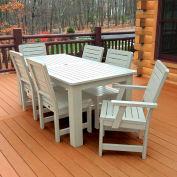 Highwood® Synthetic Wood 7 pc Set, 36 x 72 Table w/ Weatherly Chairs, Whitewash