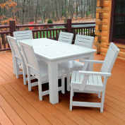 Highwood® Synthetic Wood 7 pc Set, 36 X 72 Table w/ Weatherly Chairs, White