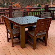 Highwood® Synthetic Wood 5-pc Dining Set, w/ Weatherly Dining Chairs, Weathered Acorn