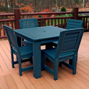 Highwood® Synthetic Wood 5-pc Dining Set, w/ Weatherly Dining Chairs, Nantucket Blue