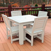 Highwood® Synthetic Wood 5-pc Dining Set, w/ Weatherly Dining Chairs, Whitewash