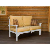 highwood® Pocono Deep Seating Patio Love Seat - White/Bamboo (Sold in Pk. Qty 3) - Pkg Qty 3
