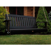 highwood® 4' Lehigh Outdoor Porch Swing, Eco Friendly Synthetic Wood In Black