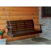 highwood® 4' Weatherly Outdoor Porch Swing, Eco Friendly Synthetic Wood In Weathered Acorn