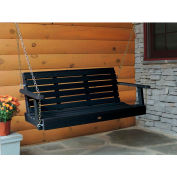 highwood® 4' Weatherly Outdoor Porch Swing, Eco Friendly Synthetic Wood In Black