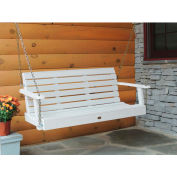 highwood® 4' Weatherly Outdoor Porch Swing, Eco Friendly Synthetic Wood In White