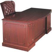HPFI Double Pedestal Bow-Front Desk W/High-Gloss High-Pressure Laminate Tops, 72X36
